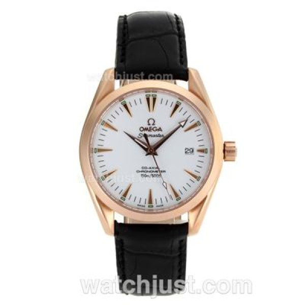 Cheap UK Sale Omega Seamaster Automatic Replica Watch With White Dial For Men