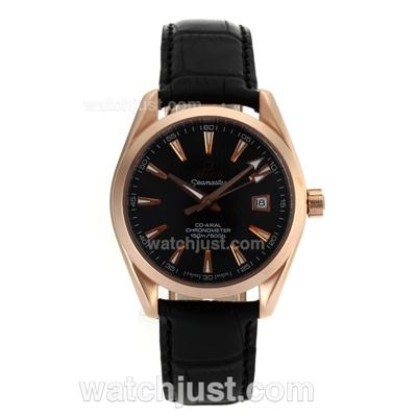 AAA Quality UK Sale Omega Seamaster Automatic Fake Watch With Black Dial For Men
