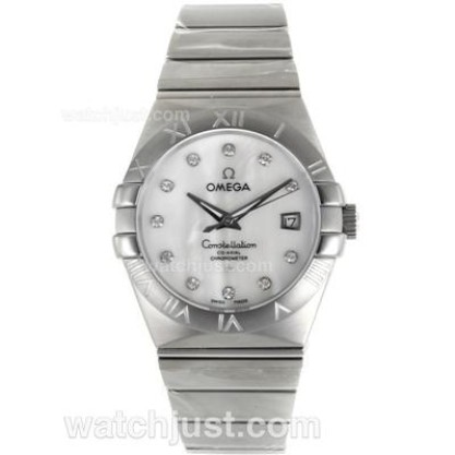 Cheap UK Omega Constellation Automatic Fake Watch With White Mother-of-pearl Dial For Men
