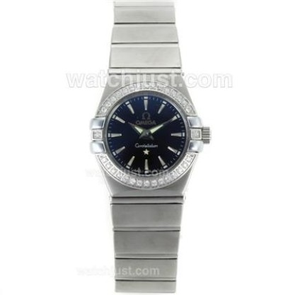 Cheap UK Omega Constellation Automatic Fake Watch With Black Dial For Women