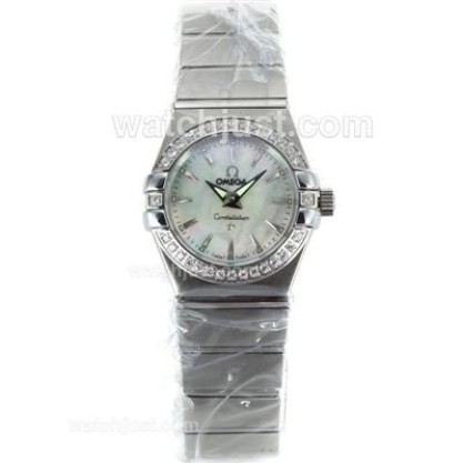 Cheap UK Omega Constellation Quartz Replica Watch With White Mother-of-pearl Dial For Women