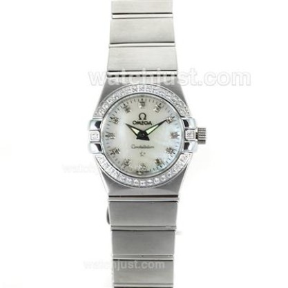 Perfect UK Omega Constellation Automatic Fake Watch With White Dial For Women