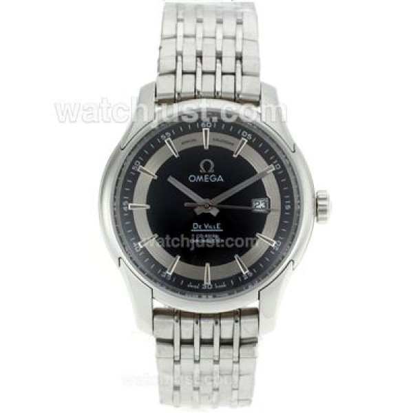 Cheap UK Sale Omega De Ville Automatic Fake Watch With Black Dial For Men