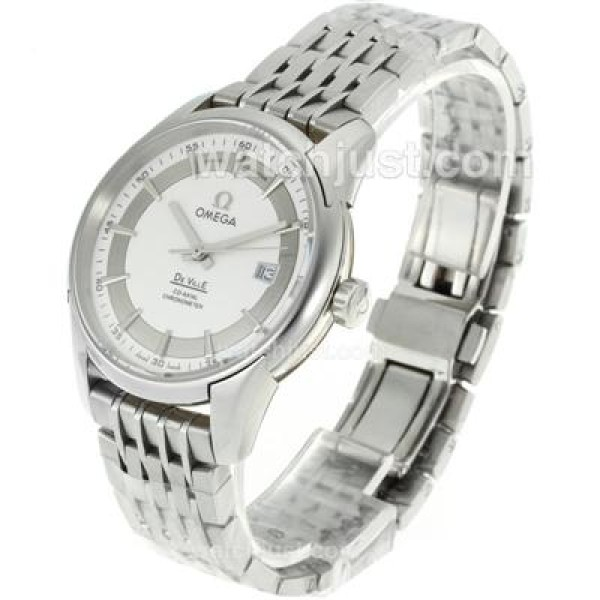Cheap UK Sale Omega De Ville Automatic Replica Watch With White Dial For Men