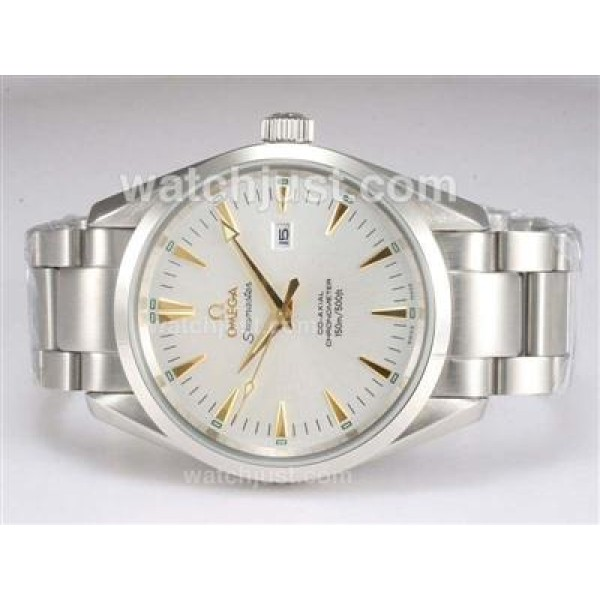 1:1 Best UK Sale Omega Seamaster Automatic Fake Watch With White Dial For Men