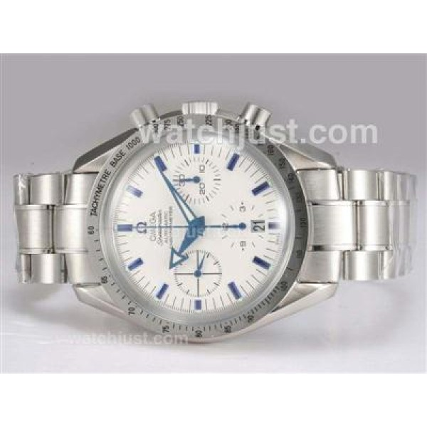 Quality UK Sale Omega SpeedmasterAutomatic Replica Watch With White Dial For Men