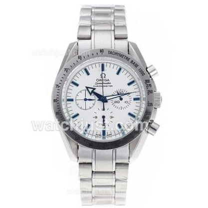 Cheap UK Sale Omega Speedmaster Automatic Replica Watch With White Dial For Men