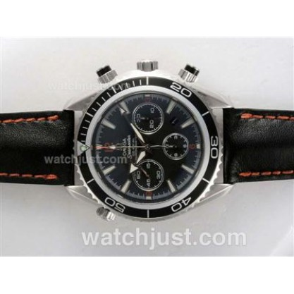 Practical UK Sale Omega Planet Ocean Automatic Fake Watch With Black Dial For Men