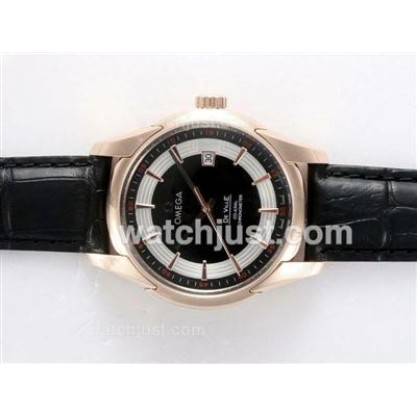 Perfect UK Sale Omega Hour Vision Automatic Fake Watch With Black And White Dial For Men