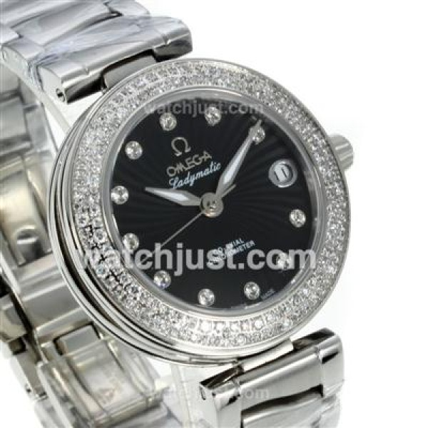 Quality UK Sale Omega Ladymatic Quartz Replica Watch With Black Dial For Women