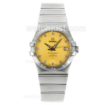 Best UK Omega Constellation Automatic Fake Watch With Yellow Dial For Women
