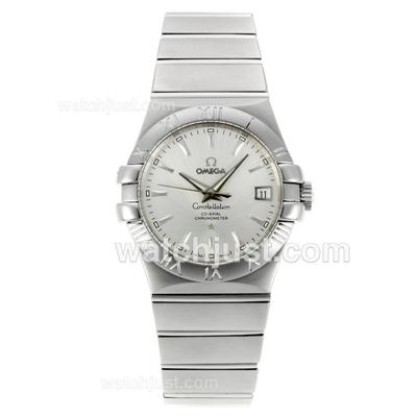 Swiss Made UK Omega Constellation Automatic Fake Watch With Silvery Dial For Women