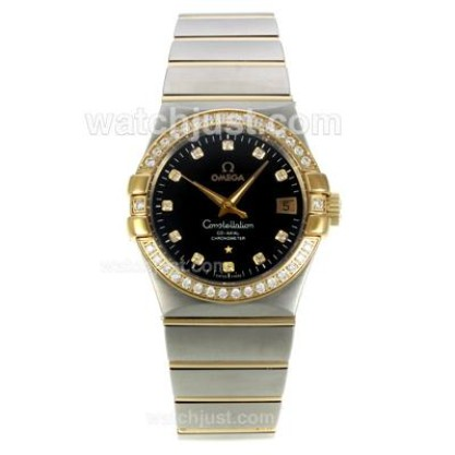 Perfect UK Omega Constellation Automatic Replica Watch With Black Dial For Women