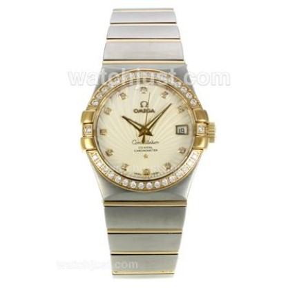 Best UK Omega Constellation Automatic Fake Watch With White Mother-of-pearl Dial For Women