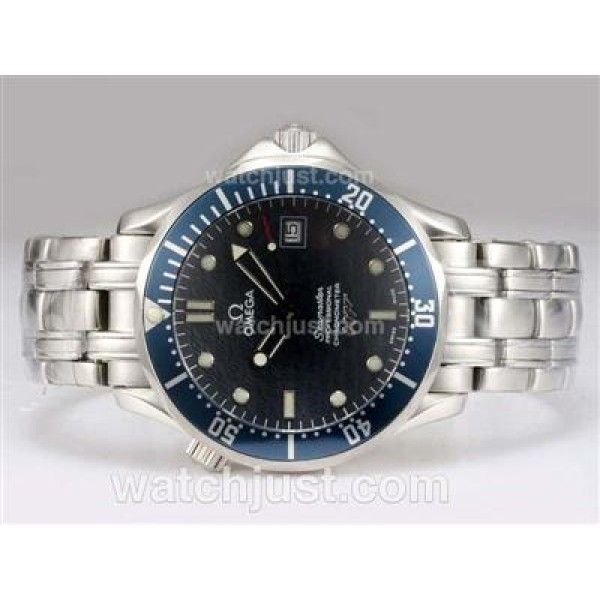 Best UK Sale Omega Seamaster Automatic Fake Watch With Black Dial For Men