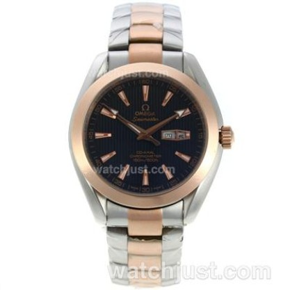 Quality UK Sale Omega Seamaster Automatic Fake Watch With Black Dial For Men