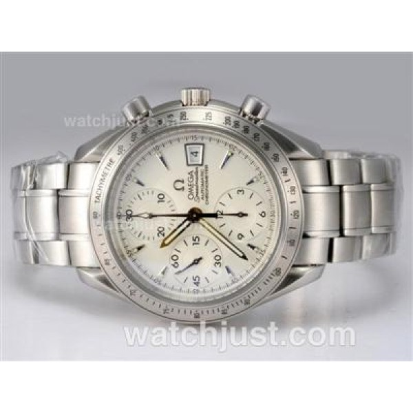 Perfect UK Sale Omega Speedmaster Automatic Replica Watch With White Dial For Men
