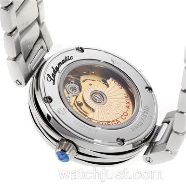 Perfect UK Sale Omega Ladymatic Automatic Replica Watch With Black Dial For Women