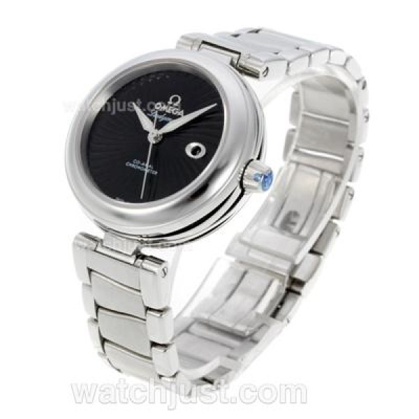 Cheap UK Sale Omega Ladymatic Automatic Replica Watch With Black Dial For Women