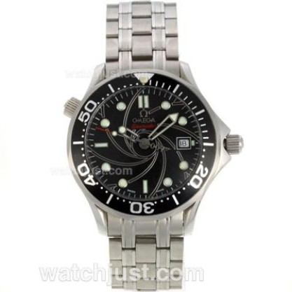 1:1 Quality UK Sale Omega Seamaster Automatic Fake Watch With Black Dial For Men