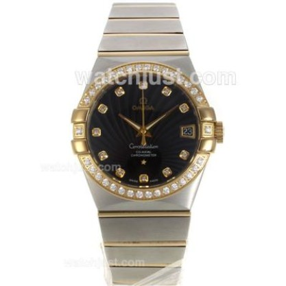 Best UK Omega Constellation Automatic Fake Watch With Black Dial For Women
