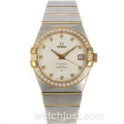 Best UK Omega Constellation Automatic Fake Watch With White Dial For Women