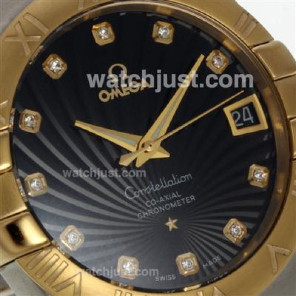 Best UK Omega Constellation Automatic Fake Watch With Black Dial For Men