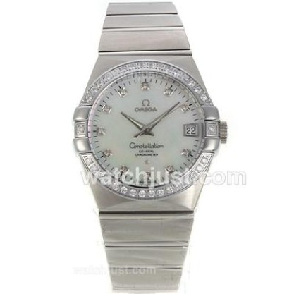 Cheap UK Omega Constellation Automatic Fake Watch With White Dial For Men