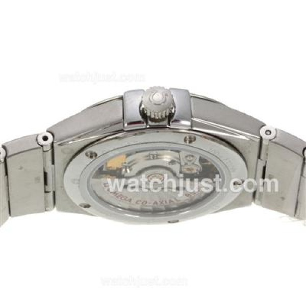 Quality UK Omega Constellation Automatic Fake Watch With Brown Dial For Women