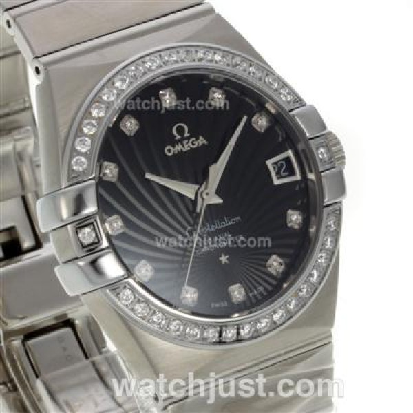 Best UK Sale Omega Constellation Automatic Replica Watch With Black Dial For Women