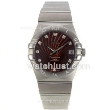 Best UK Sale Omega Constellation Automatic Replica Watch With Brown Dial For Men