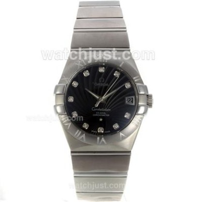 Cheap UK Sale Omega Constellation Automatic Replica Watch With Black Dial For Men