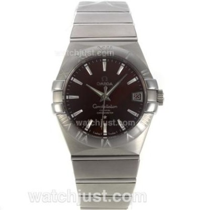 Cheap UK Omega Constellation Automatic Fake Watch With Brown Dial For Men