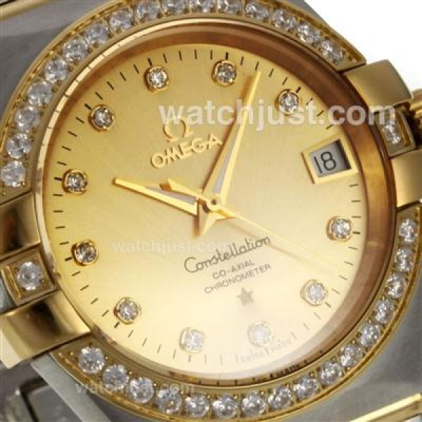 Perfect UK Omega Constellation Automatic Replica Watch With Champagne Dial For Women