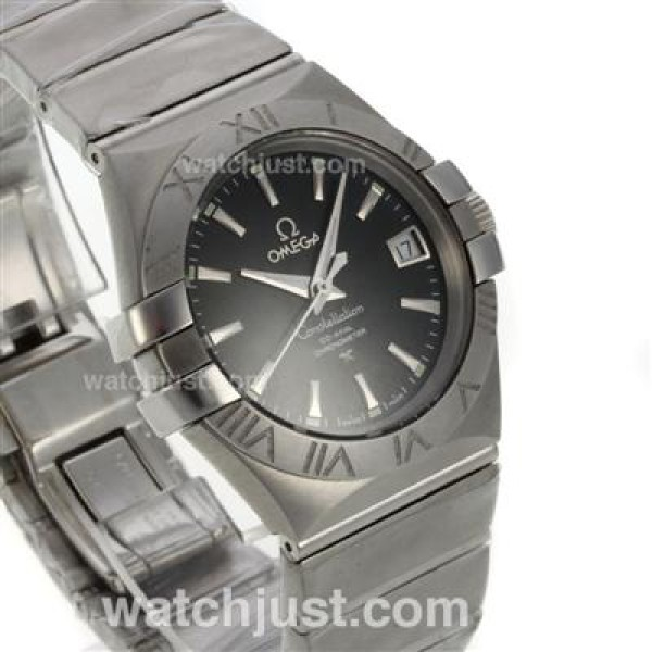 Cheap UK Omega Constellation Automatic Fake Watch With Black Dial For Men