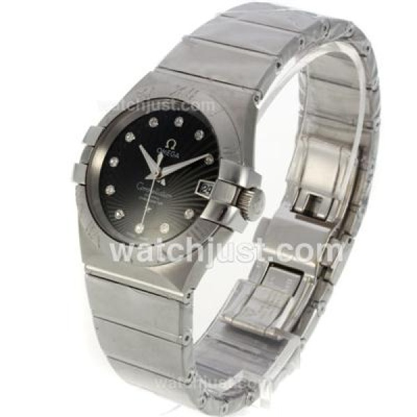 Best UK Omega Constellation Automatic Replica Watch With Black Dial For Men