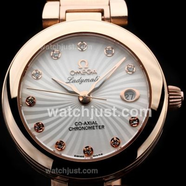 Perfect UK Sale Omega Ladymatic Quartz Replica Watch With White Dial For Women