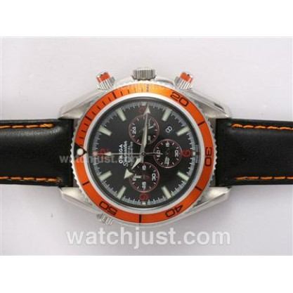 Good Quality UK Omega Seamaster Automatic Fake Watch With Black Dial For Men
