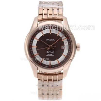 Best UK Omega Hour Vision Automatic Fake Watch With Brown And Silvery Dial For Men