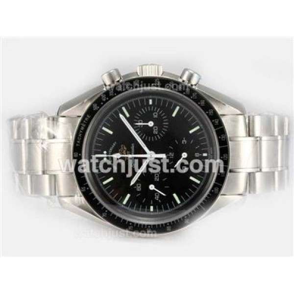 Quality UK Sale Omega Speedmaster Automatic Replica Watch With Black Dial For Men