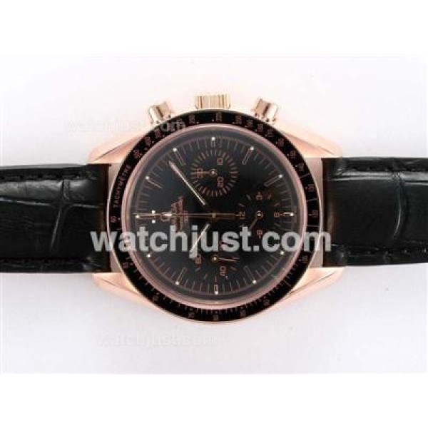 Best UK Sale Omega Speedmaster Automatic Fake Watch With Black Dial For Men