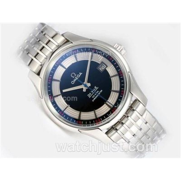 Cheap UK Sale Omega Hour Vision Automatic Fake Watch With Black And White Dial For Men