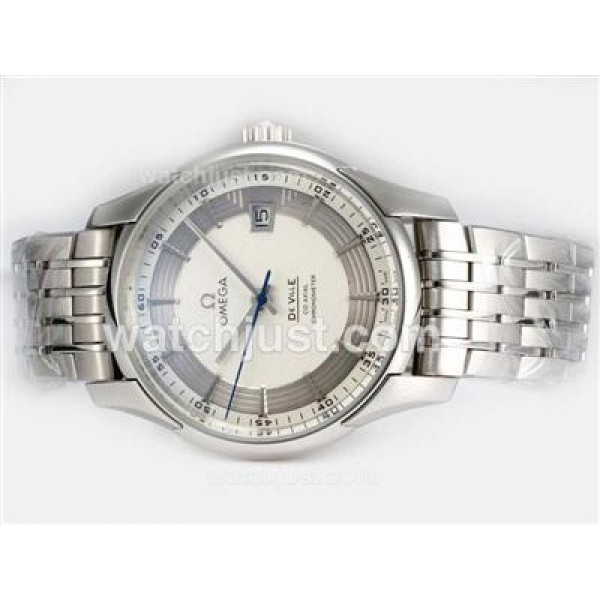 Swiss Made UK Sale Omega Hour Vision Automatic Fake Watch With Silvery And White Dial For Men