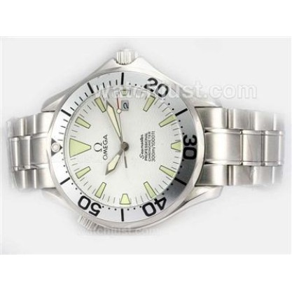 Waterproof UK Sale Omega Seamaster Automatic Fake Watch With White Dial For Men
