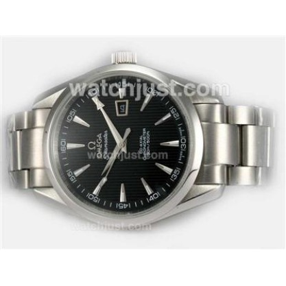 AAA Best UK Sale Omega Seamaster Automatic Fake Watch With Black Dial For Men