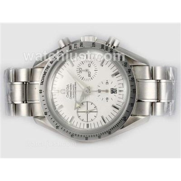 Best UK Omega Speedmaster Automatic Replica Watch With White Dial For Men