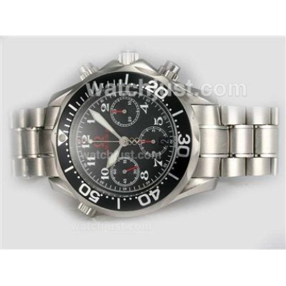 Waterproof UK Sale Omega Seamaster Automatic Replica Watch With Black Dial For Men