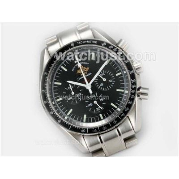 Practical UK Sale Omega Speedmaster Automatic Fake Watch With Black Dial For Men