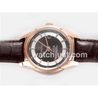 AAA Best UK Sale Omega Hour Vision Automatic Fake Watch With Brown And White Dial For Men