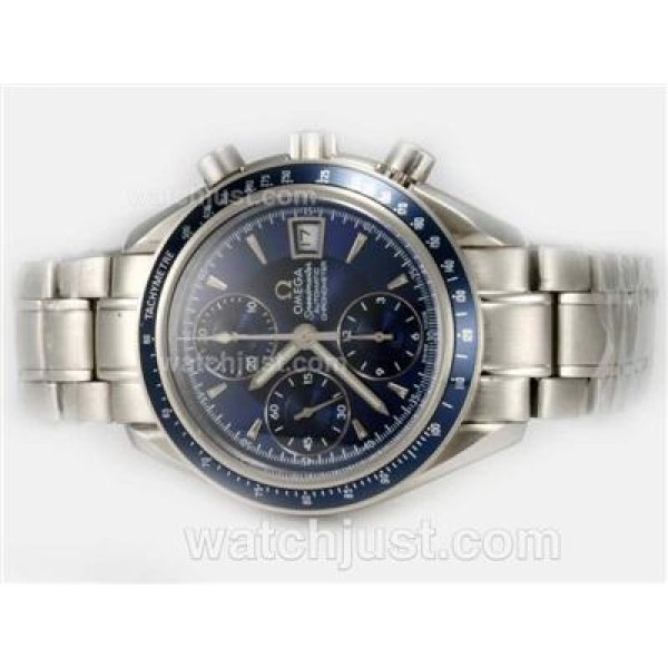 Practical UK Sale Omega Speedmaster Automatic Fake Watch With Blue Dial For Men